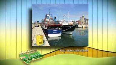 Barco para pesca oceânica está ancorado em Salvador - Embarcação tem capacidade para 35 toneladas de pescados e servem para as atividades em mar aberto.