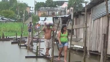 Falta menos de meio metro para Rio Solimões atingir nível recorde em Tabatinga, no AM - Em média, rio sobe dois centímetros por dia na cidade.