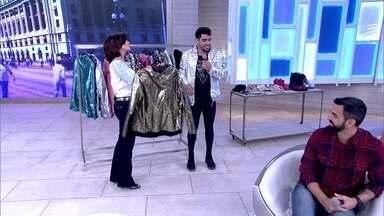 Gabriel Diniz abre o guarda-roupa no palco no Encontro - Cantor confessa que gosta de ser autêntico no figurino