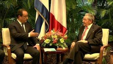 Presidente da França se encontra com os irmãos Castro em Cuba - Foi a primeira visita de um presidente francês ao país desde a independência cubana, no século XIX. Com uma delegação de empresários e ministros, a França quer fortalecer os laços comerciais.