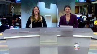 Marcela Monteiro encerra o Jornal Hoje ao lado de Sandra Annenberg - As duas fazem dobradinha durante o Vídeo Show desta terça-feira