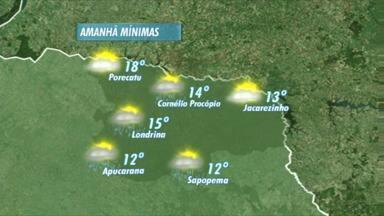 Semana começa com sol mas deve virar na terça-feira - Há possibilidade de chover amanhã no fim da tarde na região de Londrina. Na quarta as nuvens carregadas aumentam.