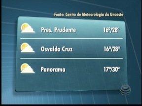 Sol deve predominar no Oeste Paulista - Veja como fica o tempo em algumas cidades.
