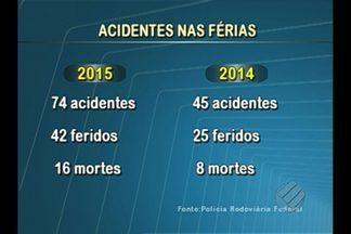 Rodovias estaduais tiveram 74 acidentes - PRE registrou oito mortes no período das férias escolares.