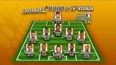 Confira a seleção do Cartola, da 16ª rodada do Brasileirão - Lucas Lima, do Santos, conquista maior pontuação.