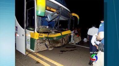 Ônibus colide com vacas na BR-267 - Motorista foi levado para hospital. As duas vacas que cruzavam a pista morreram na hora