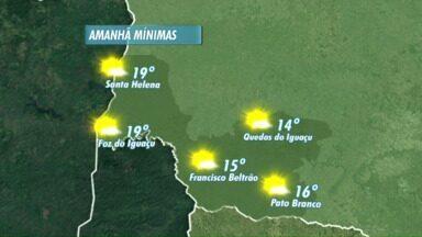 Quarta-feira será ensolarada no oeste e no sudoeste - As minímas variam entre 14 e 19 graus.