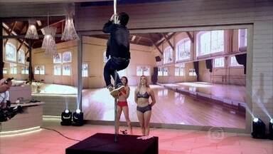 Marcos Veras lembra momentos de escalada - Reveja cenas do humorista na barra de Pole Dance