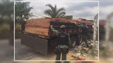 Batalhão Ambiental apreende veículo que transportava madeira de forma irregular - Caminhão levava 14m3 de madeira sem o documento de origem.