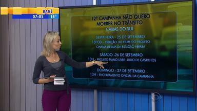 Campanha de trânsito realiza atividades em Caxias do Sul no RS - Campanha 'Não Quero Morrer no Trânsito' vai promover o respeito no trânsito.
