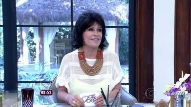 Ana Maria aparece de cabelos escuros no Mais Você - Louro José aprova o novo look da apresentadora
