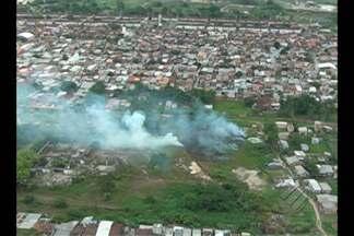 Libcop flagra fumaça na estrada do Tapanã, em Belém, nesta sexta-feira (25) - Uma equipe do Corpo de Bombeiros foi enviada para o extenso terreno.