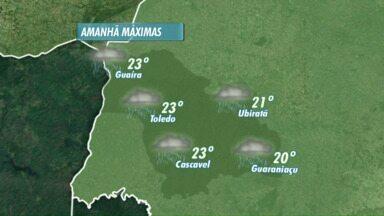 Sábado de chuva no Oeste do Paraná - O sol volta a aparecer no domingo.