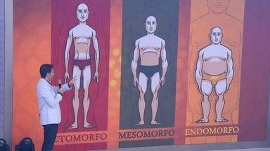 Dr. Fernando Gomes Pinto explica os diferentes tipos de corpos - Médico mostra no telão como funciona cada biótipo