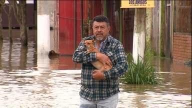 Jornal Hoje destaca estragos provocados pela chuva no Sul do país - Jornal Hoje destaca piora no cenário econômico do país.