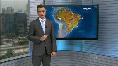 Previsão é de mais chuva para a Região Metropolitana de Belo Horizonte (MG) - Também vai chover forte em outras partes do Sudeste e Centro-Oeste. Veja como ficam as temperaturas nas outras regiões.