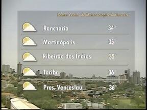 Calor deve predominar no Oeste Paulista - Máxima em Pres. Prudente pode chegar aos 35º C.