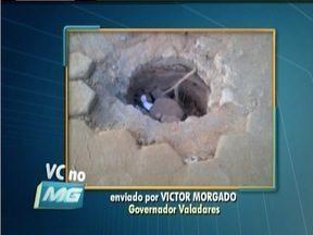 VC no MG: Morador do Bairro Sion em GV reclama de buraco aberto por empresa em uma rua - Buraco teria sido aberto para instalação de banheiro químico.