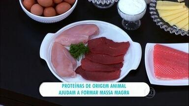 Proteínas de origem animal ajudam a formar massa magra - Médico dá dicas de como ter ganho de massa magra. Idosos que iniciam atividade física devem buscar uma dieta adequada.