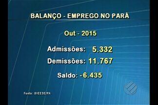 Dieese divulga balanço do emprego no Pará - De janeiro a outubro de 2015, foram mais de 69 mil admissões contra mais de 82 mil demissões. Um saldo negativo de 12 mil postos de trabalho.