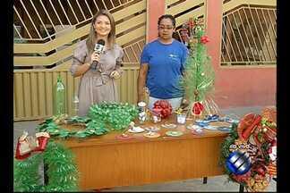 Quadro 'Meu Condomínio' fala sobre decoração natalina ecológica - Condomínio fez árvore gigante de garrafa pet.
