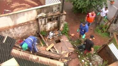 Agentes de saúde, da defesa civil e até policiais se uniram no combate ao Aedes Aegypti - Eles fizeram um arrastão num prédio em construção na Zona 7 em Maringá