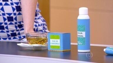 Chá de camomila e água termal acalmam a pele - A dermatologista Denise Steiner ressalta que a pomada de corticoide só pode ser usada com recomendação médica, já que pode causar efeitos colaterais.