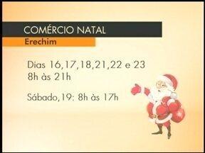 Comércio de Erechim atende até mais tarde a partir desta quarta-feira (16) - As lojas vão ficar abertas até às nove da noite.
