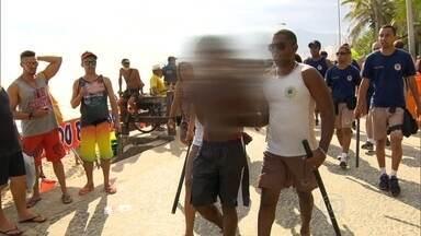 Fim de semana violento nas praias do Rio - Na zona sul, teve roubo e correria na areia.