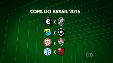 Times cariocas já sabem quem vão enfrentar na primeira fase da Copa do Brasil - O Vasco vai encarar o Remo em Belém. O Botafogo joga com o Coruripe, de Alagoas. O Fluminense tem pela frente o Tombense e o Flamengo pega o Confiança.