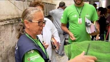São Paulo tem mutirão contra a dengue neste sábado (23) - O sábado (23) foi dia de mutirão contra o mosquito Aedes Aegypti aqui na capital. Agentes de saúde e funcionários de limpeza passaram o dia em busca de focos de dengue.