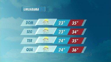 Previsão de pancadas de chuva neste carnaval em Umuarama - Apesar das temperaturas mais altas, ainda há previsão de chuva para este fim de semana em quase toda a região noroeste.