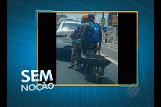 'Sem Noção' flagra motociclista transportando 3 pessoas e um carrinho de mão em Belém - O flagrante foi feito na avenida Independência, próximo ao sinal do cruzamento da rodovia Mário Covas.