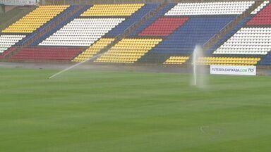 Estádio Kléber Andrade, em Cariacica, no ES, faz testes no sistema de irrigação - Praça esportiva está sendo preparada para o duelo entre Flamengo e América-MG, pela Primeira Liga