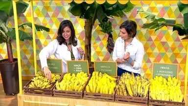 Banana média tem cerca de 70, 80 calorias - A nutricionista Rachel Francischi explica que os diferentes tipos de banana têm praticamente a mesma quantidade de calorias; o que varia é o tamanho da porção.