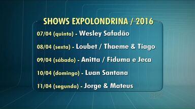 Sociedade Rural divulga grade de shows da Expo Londrina - Pra quem gosta de sertanejo universitário,a grande maioria dos shows serão com artistas que tocam esse ritmo. A exceção é o show da cantora Anitta.