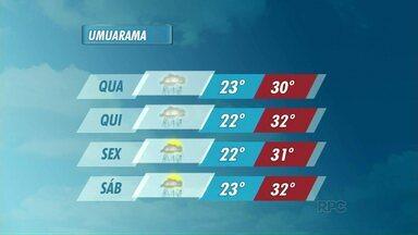 Tempo nublado em Umuarama até a quinta-feira - O tempo segue instável em toda a região noroeste durante os próximos dias.