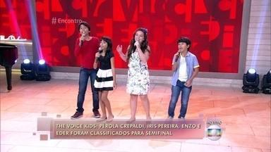 Participantes do 'The Voice Kids' cantam a música 'Festa' - Pérola Crepaldi, Enzo e Eder e Iris Pereira improvisam música de Ivete Sangalo