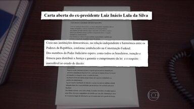 Ex-presidente Lula divulga carta aberta em resposta ao Poder Judiciário - Na carta, Lula começa dizendo que crê nas instituições democráticas, na relação independente e harmônica entre os poderes da República, conforme estabelecido na Constituição Federal.