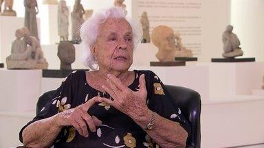 Obra da artista plástica Lêda Gontijo transpira vitalidade - Ao 101 anos, ela diz que o segredo está no 'trabalho'. Divertida, relembra histórias e momentos de uma vida ativa.