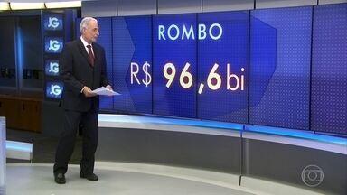 Governo quer aval para aprovar rombo fiscal de até R$ 96 bilhões - Em menos de dois meses o governo teve de aumentar em 50% o rombo nas contas públicas anunciado em fevereiro, que já era monstruoso. Vai pular de mais de R$ 60 bilhões para quase R$ 100 bilhões.