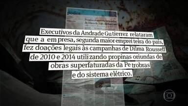 Delações da Andrade Gutierrez trazem novas denúncias de propina em campanhas eleitorais - O Jornal Folha de São Paulo mostrou que a empreiteira afirmou ter financiado campanhas da presidente com propina. O ministro Edinho Silva, que foi tesoureiro da campanha de Dilma em 2014, negou irregularidades.