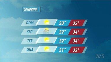 Domingo de tempo firme na região de Londrina - Confira na previsão do tempo que traz possibilidade de chuva na próxima semana.