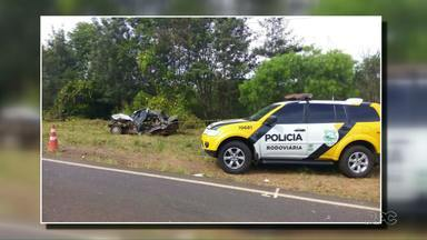 Em Realeza aconteceram dois acidentes hoje num mesmo trecho da PR-281 - Os acidentes tiveram uma diferença de seis horas e duas vítimas fatais. No primeiro morreu o condutor de uma moto e no segundo acidente o motorista de um carro.