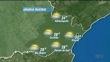 A chuva pode cair no domingo (10), em Curitiba - As temperaturas máximas devem apresentar uma ligeira queda, na Capital e no litoral, mas ainda não faz frio.