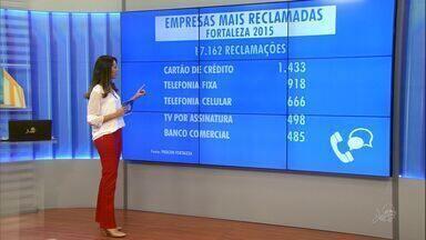 Empresas de cartões e telefonia são líderes de reclamação em Fortaleza - Procon Fortaleza recebeu mais de 17 mil reclamações em 2015.