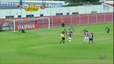 Sertãozinho vacila, sofre gol no fim e decide acesso na última rodada - Nacional marcou nos acréscimos, mantendo vivo o sonho do acesso à Série A2.