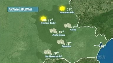 O frio continua nos Campos Gerais - Em Ponta Grossa e Telêmaco Borba, as máximas não passam dos 19 graus no domingo