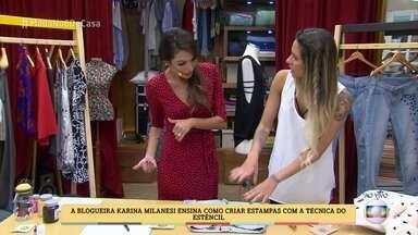 Karina Milanesi ensina como renovar seus jeans com a técnica do estêncil - Blogueira mostra como é fácil personalizar as peças
