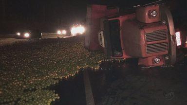 Caminhão tomba após motorista tentar desviar de atropelado na SP-255 - Carga de laranja ficou espalhada na pista nesta sexta em Araraquara.Acidente aconteceu no início da noite perto do km 74, segundo a polícia.